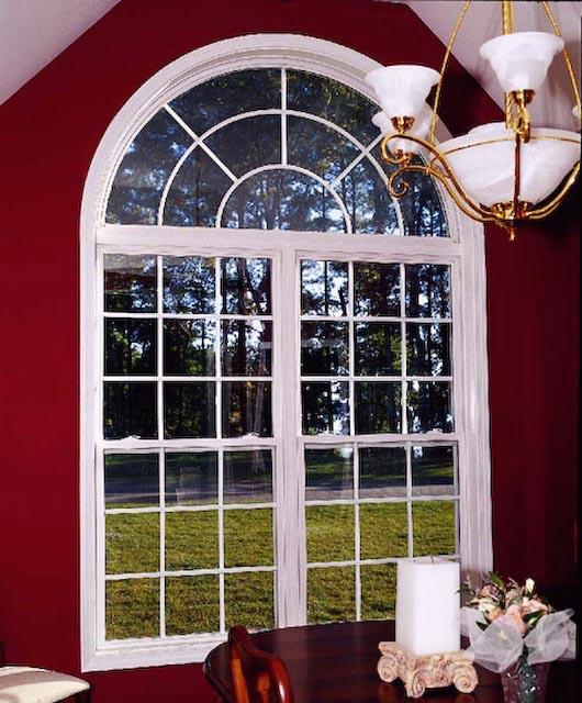 Half Hung Windows : Half round w double sunburst grids over twin hung