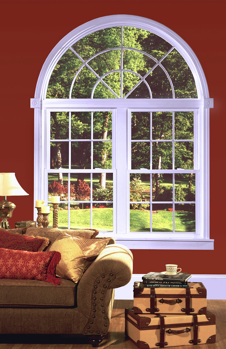 Half Hung Windows : Half round window w starburst grid over two double hungs