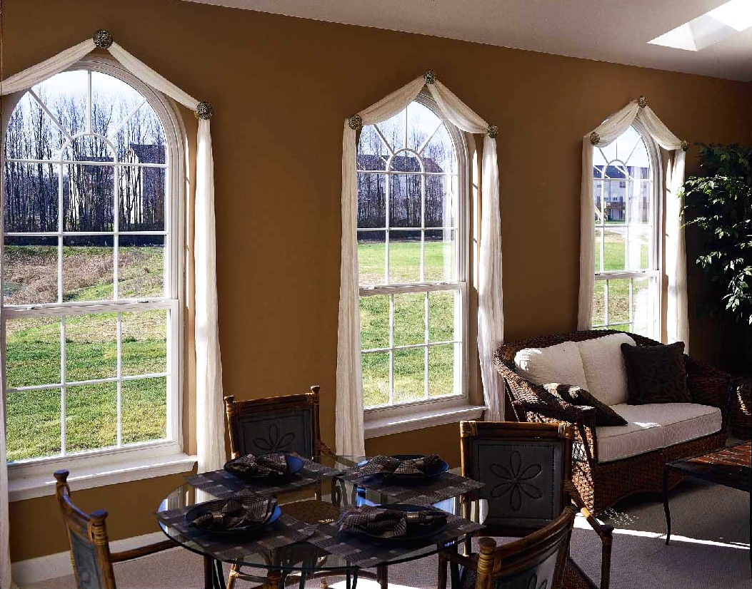 Round top single hung windows w colonial grids for Round top windows